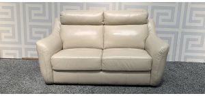 Cream Regular Semi Aniline Leather Sofa With Padded Headrests Ex-Display Showroom Model 47950