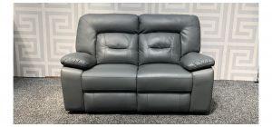 Rockford Grey Bonded Leather Regular Sofa Manual Recliner Ex-Display Showroom Model 47959