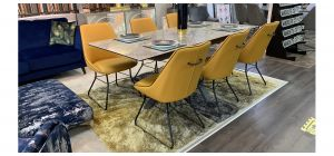 Fl Vertiso 2m Extending Ceramic Dining Table with 6 Mustard With Black Piping Bonded Leather Chairs (w:55 d:55 h:90cm)