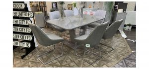Tristar 1.6m Tempered Glass Table And 6 Fabric Chairs With Chrome Legs (w:55 d:55 h:90cm)