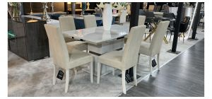 Status Marble Effect And Chrome 1.6m Dining Table With 6 Faux Cream Chairs (w:46 D:55 H:100cm)