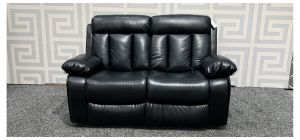 Somerton Black Leathaire Regular Sofa Manual Recliner Ex-Display Showroom Model 48011