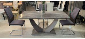 Atalanta 1.6m High Gloss Dining Table With 6 Chrome Leg Chairs (w:45 D:56 H:100cm)