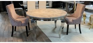 Round 1.3m Marble And Chrome Dining Table With 4 Studded Fabric Lilac Chrome Leg Chairs (w:57 D:57 H:100cm)