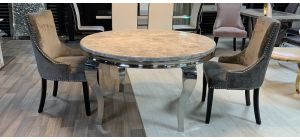 Round 1.3m Marble And Chrome Dining Table With 4 Studded Fabric Grey Chrome Leg Chairs (w:57 D:57 H:100cm)
