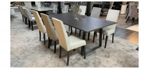 Laki Grey 1.9m Concrete Dining Table With 6 Faux Cream Wooden Leg Chairs (w:46 D:54 H:100cm)