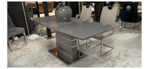 Milano Grey And Chrome 1.8m Extending Dining Table With 6 Beige And Chrome Chairs With Contrast Stitching (w:43 D:58 H:100cm)