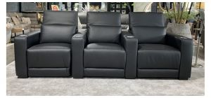 New Trend Black All Electric Theatre Recliner Sofa With Drinks Holders (Modular - Call For Additional Seat Price)