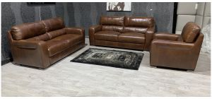 Lucca Brown Leather 3 + 3 + 1 Sofa Set Sisi Italia Semi-Aniline With Wooden Legs Ex-Display Showroom Model 48045