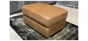 Brown Sisi Italia Semi Aniline Leather Footstool Ex-Display Showroom Model 48047