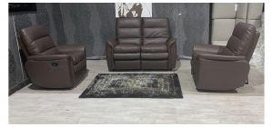 Brown Bonded Leather 2 + 1 + 1 Sofa Set Manual Recliner Ex-Display Showroom Model 48058