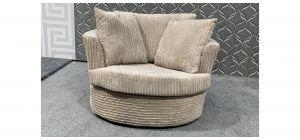 Beige Jumbo Cord Fabric Swivel Chair With Scatter Cushions Ex-Display Showroom Model 48083