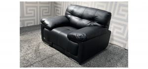 Alexis Black Bonded Leather Armchair With Chrome Legs Ex-Display Showroom Model 48103