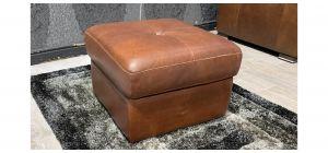 Sisi Italia Brown Square Semi Aniline Footstool With Storage Ex-Display Showroom Model 48124