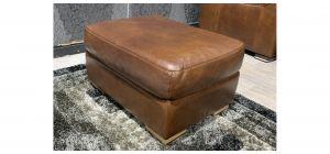 Sisi Italia Brown Semi Aniline Footstool With Light Wooden Legs Ex-Display Showroom Model 48129