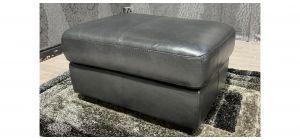 Black Sisi Italia Semi Aniline Footstool With Wooden Legs Ex-Display Showroom Model 48140