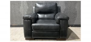 Majori Black Leather Armchair Electric Recliner Sisi Italia Semi-Aniline With Wooden Legs - Few Scuffs (see images) Ex-Display Showroom Model 48156