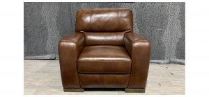 Lucca Brown Leather Armchair Sisi Italia Semi-Aniline With Wooden Legs Ex-Display Showroom Model 48161