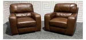 Lucca 1 + 1 Brown Leather Armchairs Sisi Italia Semi-Aniline With Wooden Legs Ex-Display Showroom Model 48180
