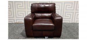Lucca Burgundy Leather Armchair Sisi Italia Semi-Aniline With Wooden Legs Ex-Display Showroom Model 48204