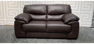 Brown Regular Leather Sofa With Wooden Legs Ex-Display Showroom Model 48238