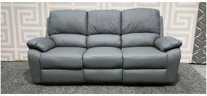 Grey Bonded Leather Large Sofa Manual Recliner Ex-Display Showroom Model 48242