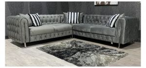 Grey Fabric 2C2 Corner Sofa With Chrome Legs And Scatter Cushions