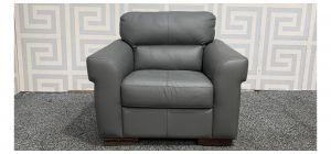 Capri Grey Leather Armchair Sisi Italia Semi-Aniline With Wooden Legs Ex-Display Showroom Model 48267