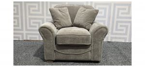 Round Armed Grey Fabric Armchair With Wooden Legs And Mismatch Reversible Cushions Ex-Display Showroom Model 48273