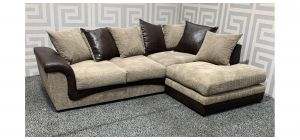Brown RHF Fabric Corner Sofa With Scatter Back - Mismacth Sections Ex-Display Showroom Model 48278