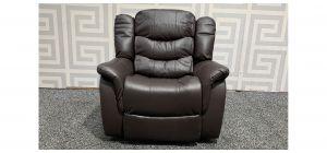Brown Bonded Leather Armchair Manual Recliner Ex-Display Showroom Model 48282