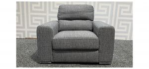 Pisa Grey Square Arm Fabric Armchair With Chrome Legs Ex-Display Showroom Model 48284
