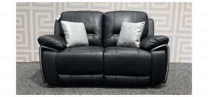 Henry Black Leathaire Regular Sofa Manual Recliner With Scatter Cushions Ex-Display Showroom Model 48285