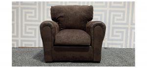 Brown Round Arm Fabric Armchair Ex-Display Showroom Model 48286