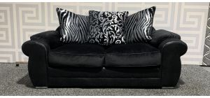 Black Large Fabric Sofa With Scatter Back And Chrome Legs Ex-Display Showroom Model 48287