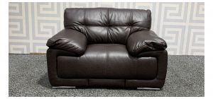 Alexis Brown Bonded Leather Armchair With Chrome Legs Ex-Display Showroom Model 48293