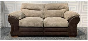 Houston Brown Regular Fabric Sofa With Wooden Legs Ex-Display Showroom Model 48301