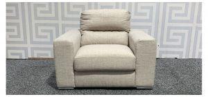 Pisa Beige Fabric Armchair With Chrome Legs Ex-Display Showroom Model 48313