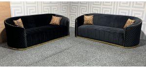 Fendi Black Fabric 3 + 3 Sofa Set With Scatter Cushions Ex-Display Showroom Model 48323