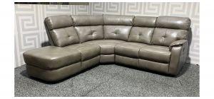 Cielo Brown LHF Leathaire Corner Sofa Manual Recliner Ex-Display Showroom Model 48326