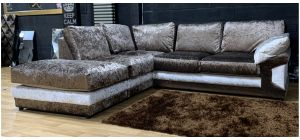 Vegas LHF Brown And Silver Crushed Velvet Fabric Corner Sofa Ex-Display Showroom Model 48334