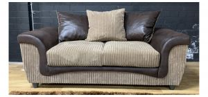 Brown And Beige Jumbo Cord Regular Fabric Sofa With Scatter Back Ex-Display Showroom Model 48337