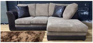 Dylan RHF Brown And Beige Jumbo Cord Fabric Corner Sofa Ex-Display Showroom Model 48338