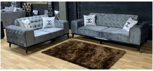Chanel Grey Fabric 3 + 2 Sofa Set With Wooden Legs And Scatter Cushions Ex-Display Showroom Model 48339