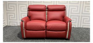 Newtrend Red And Cream Regular Leather Sofa Electric Recliner Ex-Display Showroom Model 48340