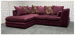 Zina Purple LHF Fabric Corner Sofa With Scatter Back Ex-Display Showroom Model 48348