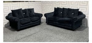 Infinity Black Scroll Arm Fabric 3 + 2 Sofa Set With Scatter Back And Wooden Legs Ex-Display Showroom Model 48349