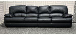 Black Padded Arm 4 Seater Large Leather Sofa Ex-Display Showroom Model 48353