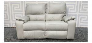 Cream Regular Leather Sofa Manual Recliner - Few Marks (see images) Ex-Display Showroom Model 48355