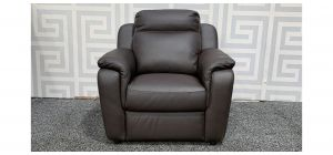 Brown Leather Electric Recliner With USB Port - Dent On Left Rear Base And Left Arm Loose (see images) Ex-Display Showroom Model 48356